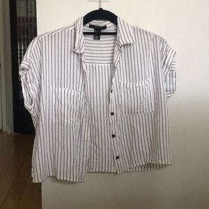 Forever 21 pin stripe short sleeve button down